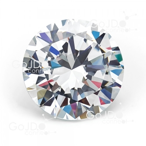 Round brilliant cut diamond with colourful facets