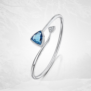 Blue Topaz and Diamond Silver Bangle
