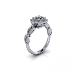 Diamond  ring mount  for 1.00ct cushion cut.