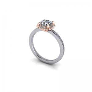 Diamond  ring mount  for 1.00ct Round brilliant cut.